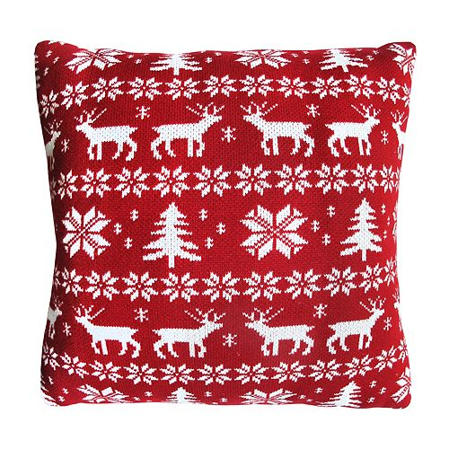 St. Nicholas Square® Deer Fairisle Throw Pillow