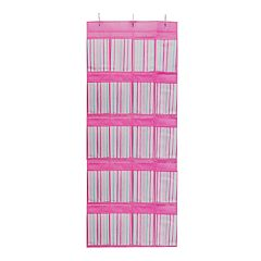 Laura Ashley Lifestyles Kids Painterly Pink Stripe 16-Pocket Over The Door Shoe Organizer