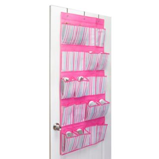 Laura Ashley Lifestyles Kids Painterly Pink Stripe 16-Pocket Over The Door Shoe Organizer