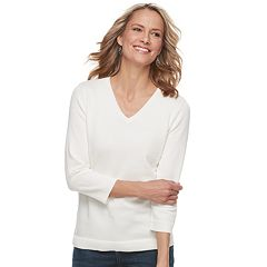 Women's Croft & Barrow® V-Neck Lightweight Sweater