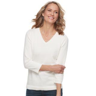 Women's Croft & Barrow® V-Neck Lightweight Sweater