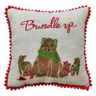 "St. Nicholas Square® Bears ""Bundle Up"" Throw Pillow"