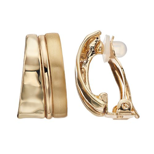Dana Buchman Layered Oval Clip-On Earrings