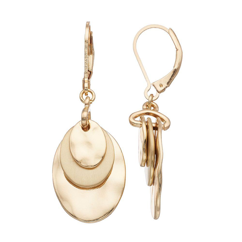 Dana Buchman™ Hammered Disc Drop Earrings