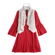 Girls 7-16 My Michelle Textured Dress & Faux-Fur Vest Set