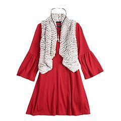 Girls 7-16 My Michelle Textured Dress & Faux-Fur Vest Set