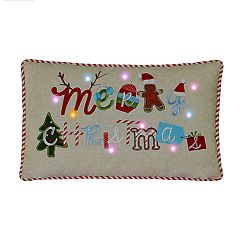 St. Nicholas Square® Merry Christmas LED & Musical Throw Pillow
