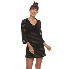 Women's Apt. 9® Burnout Stripe Lace-Up Hooded Cover-Up