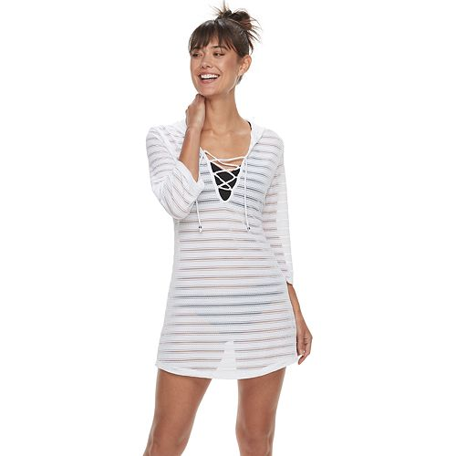 63bada65c6258 Women s Apt. 9® Burnout Stripe Lace-Up Hooded Cover-Up