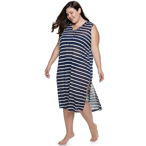 Plus Size Apt. 9® Striped Hooded Cover-Up
