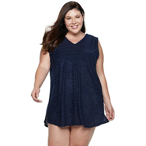 Plus Size Apt. 9® Shadow Stripe Terry Cover-Up