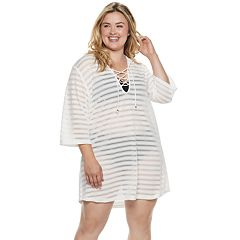 Plus Size Apt. 9® Burnout Stripe Lace-Up Hooded Cover-Up