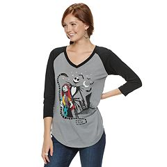 Disney's The Nightmare Before Christmas Juniors' Jack & Sally Raglan Tee
