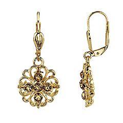 1928 Simulated Crystal Filigree Flower Drop Earrings