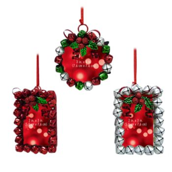 St. Nicholas Square® Jingle Bell Photo Holder Christmas Ornament 3-piece Set