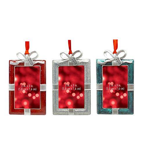 "St. Nicholas Square® ""2018"" 2"" x 3"" Photo Holder Christmas Ornament 3-piece Set"