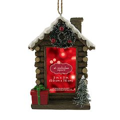 St. Nicholas Square® Log Cabin 2' x 3' Photo Holder Christmas Ornament
