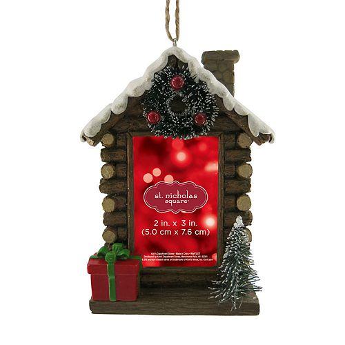 "St. Nicholas Square® Log Cabin 2"" x 3"" Photo Holder Christmas Ornament"