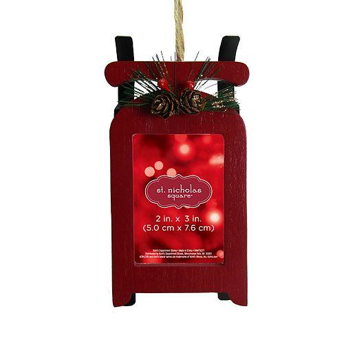 "St. Nicholas Square® Sleigh 2"" x 3"" Photo Holder Christmas Ornament"