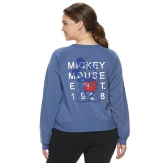 """Disney's Mickey Mouse 90th Anniversary Juniors' Plus Size """"Mickey Mouse 1928"""" Fleece Pullover"""