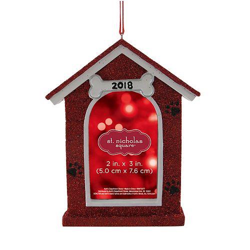 "St. Nicholas Square® Dog House 2"" x 3"" Photo Holder Christmas Ornament"