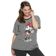 Disney's Mickey Mouse 90th Anniversary Juniors' Plus Size Minnie Mouse Striped Ringer Tee