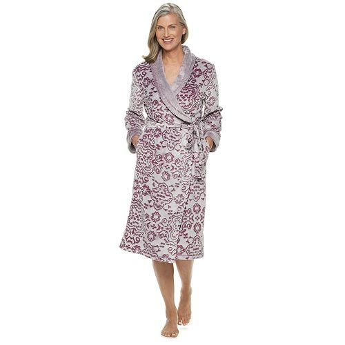 Women's Croft & Barrow® Paisley Plush Wrap Robe