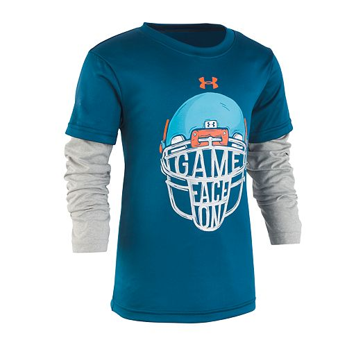 "Boys 4-7 Under Armour Mock Layer Football Helmet ""Game Face On"" Graphic Tee"