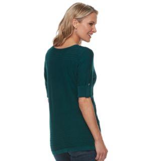 Women's Croft & Barrow® Textured Roll-Tab Boatneck Sweater