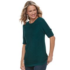 Women's Croft & Barrow® Textured Roll-Tab Boatneck Sweater