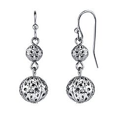 1928 Filigree Ball Drop Earrings