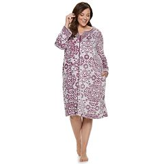 Plus Size Croft & Barrow® Paisley Plush Zip Robe