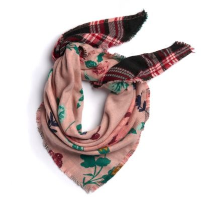 Women's Candie's® Floral & Plaid Reversible Triangle Scarf