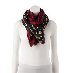 Women's Candie's® Daisy & Buffalo Plaid Reversible Triangle Scarf