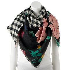 Women's Candie's® Rose & Buffalo Plaid Reversible Triangle Scarf
