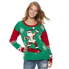 Juniors' It's Our Time Skateboard Santa Christmas Sweater