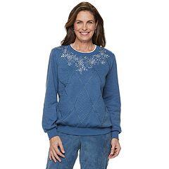 Women's Alfred Dunner Studio Spliced Floral Embroidered Sweatshirt