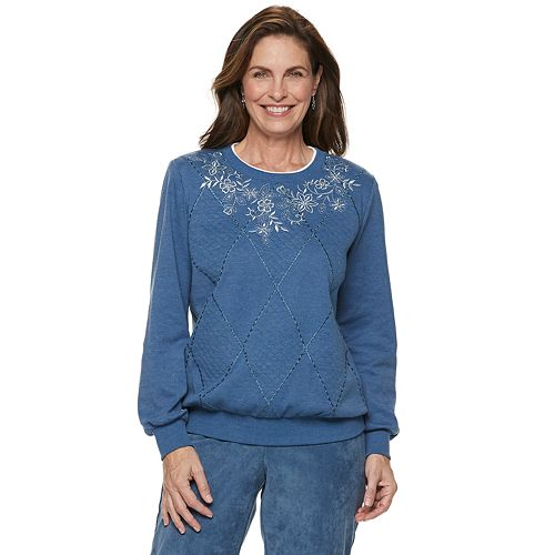 Women's Alfred Dunner Studio Spliced Floral Embroidered Sweatshirt