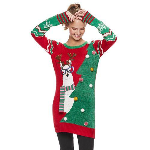 c9259e600fd Juniors' It's Our Time Llama & Tree Tunic Christmas Sweater