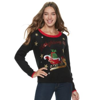 """Juniors' It's Our Time """"Sleighing It"""" Christmas Sweater"""