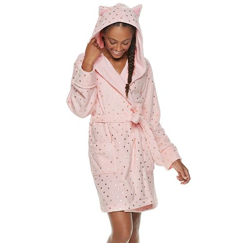 Juniors' SO® Plush Cat Short Robe