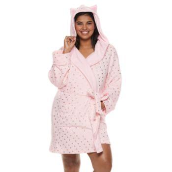 Plus Size SO® Plush Cat Short Robe