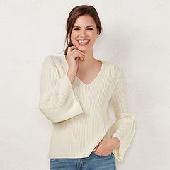 Petite LC Lauren Conrad V-Neck Bell Sleeve Sweater