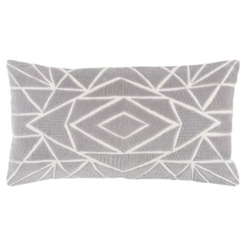 Rizzy Home Gray Geometric Transitional Oblong Throw Pillow