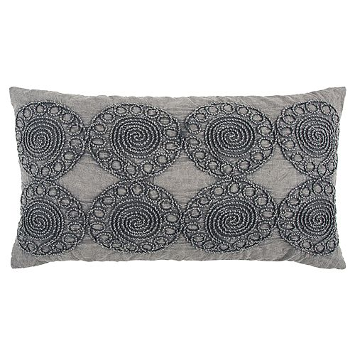Rizzy Home Gray Medallion Transitional Oblong Throw Pillow