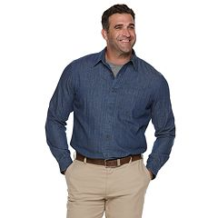 Big & Tall Croft & Barrow® Regular-Fit Denim &Twill Utility Button-Down Shirt
