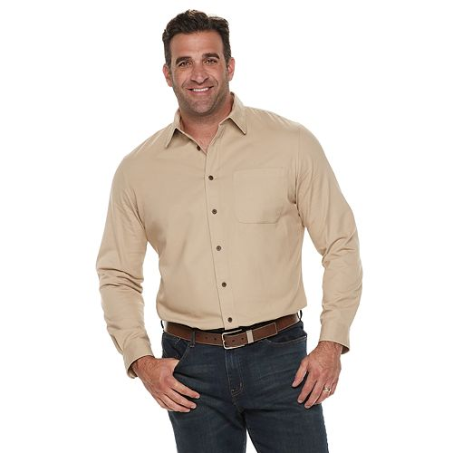 Big & Tall Croft & Barrow® Regular-Fit Denim &Twill Utility Button-Down Shirt