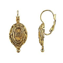 1928 Gold Tone Textured Oval Earrings