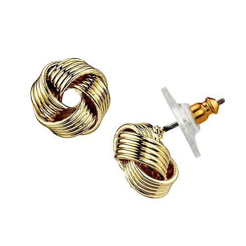 1928 Gold Tone Love Knot Stud Earrings