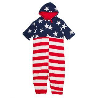 Men's American Flag Hooded Union Suit
